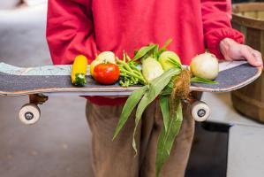 Veggies on a skateboard